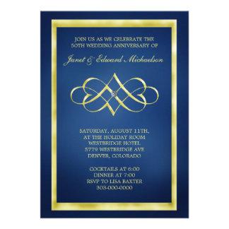 Blue and Gold Heart Swirl Anniversary Invitation