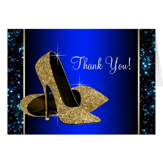 Blue and Gold High Heel Shoe Thank You Card
