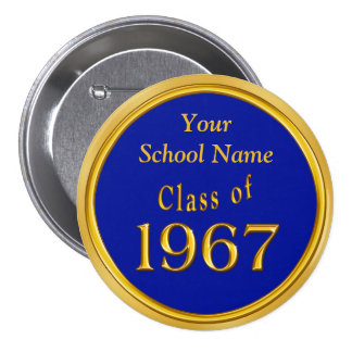 Blue and Gold High School Reunion Favors Ideas 3 Inch Round Button