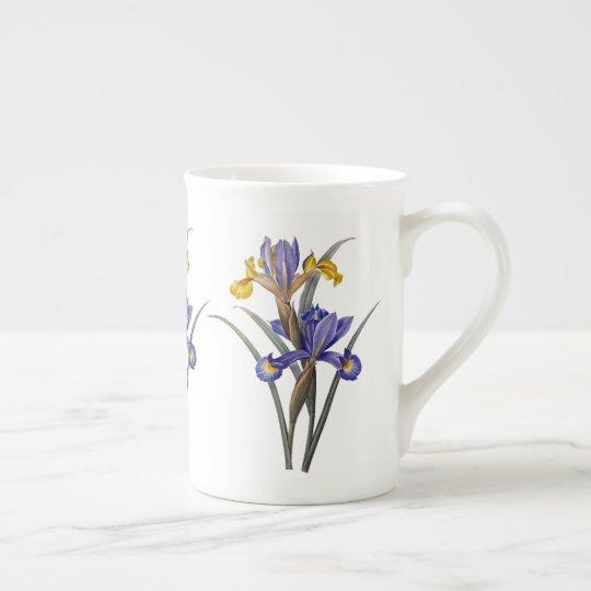Blue and Gold Iris Redoute Bone China Mug