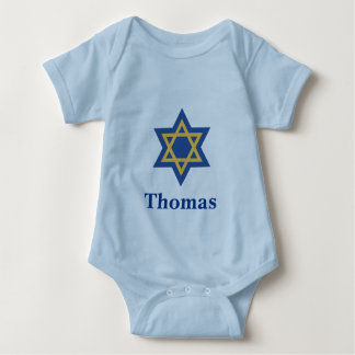 Blue and Gold Jewish Star of David Baby Bodysuit