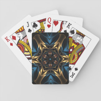 Blue and gold kaleidoscope print on playing cards