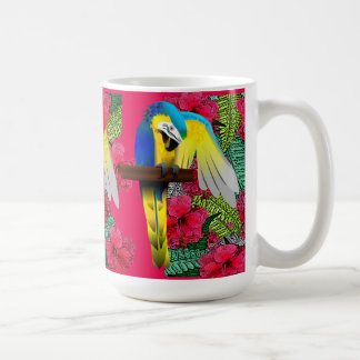 Blue and Gold Macaw Parrot Print Coffee Mug