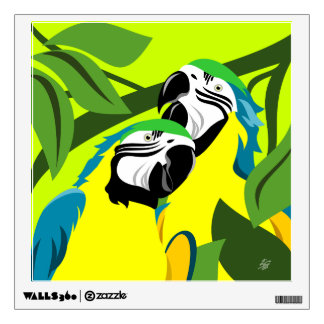Blue and Gold Macaw Parrots Wall Sticker