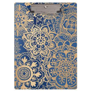 Blue and Gold Mandala Pattern Clipboard
