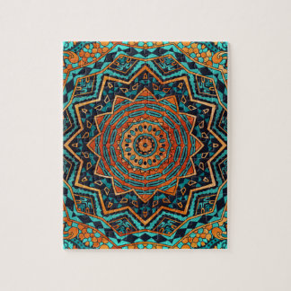 Blue and gold mandala puzzle