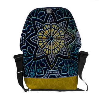 Blue and Gold Medieval Flower Star Mosaic Messenger Bags