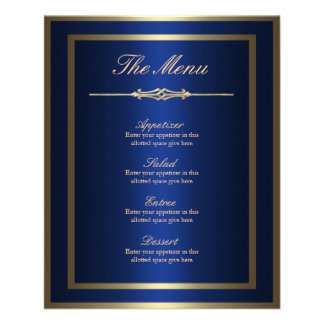 Blue and Gold Menu Card