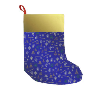 blue and gold merry christmas stocking