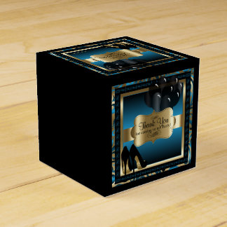 Blue and Gold Metallic - 50th Birthday  | DIY Text Party Favor Boxes