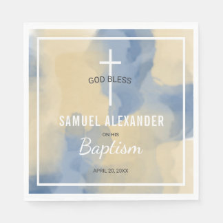 Blue and Gold Modern Watercolor Baby Boy Baptism Disposable Napkin