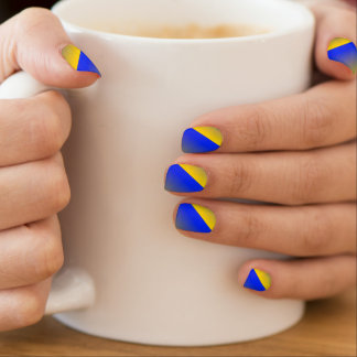 Blue and Gold Ombre Stripe Abstract French Tip Nail Sticker