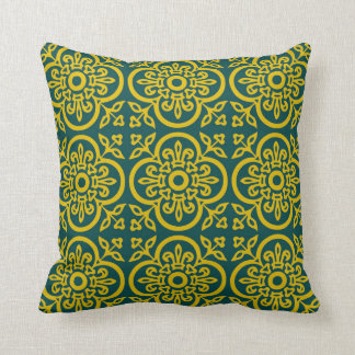 Blue and gold Ornamental Medieval Pattern Pillow