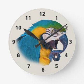 Blue and Gold Parrot Customizable Round Clock