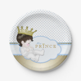 Blue and Gold Prince Baby Shower 7 Inch Paper Plate