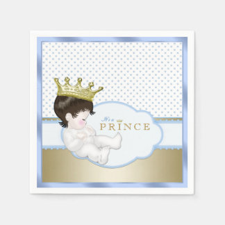 Blue and Gold Prince Baby Shower Paper Napkins