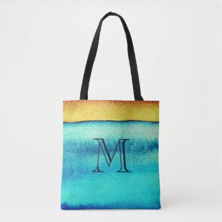 Blue and Gold Rustic Monogram Tote Bag