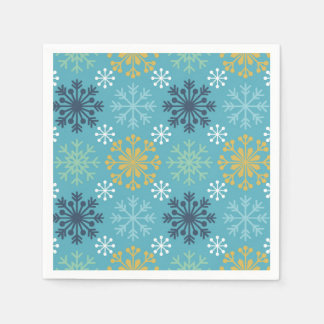 Blue and Gold Snowflake Paper Napkin
