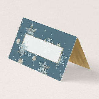 Blue and Gold Snowflakes Wedding Folded Place Card