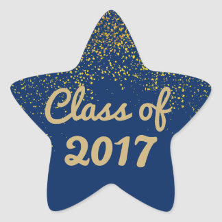 Blue and Gold Sparkle Graduation Star Sticker 2017