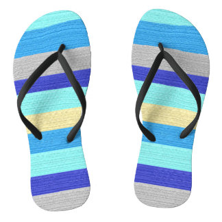 Blue and Gold Stripes Flipflops