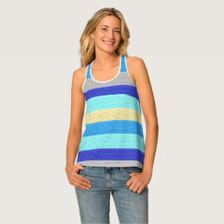 Blue and Gold Stripes Racer-back Tank