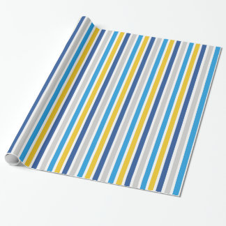 Blue and Gold Stripes Wrapping Paper