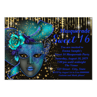 """Blue and Gold Sweet 16 Masquerade Party 5"""" X 7"""" Invitation Card"""