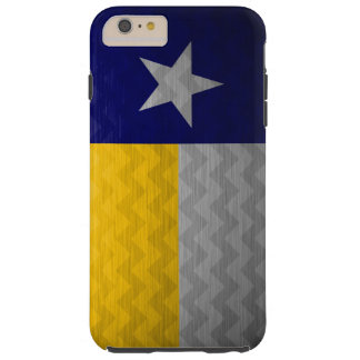 Blue and Gold Texas Flag Brushed Metal Chevron Tough iPhone 6 Plus Case