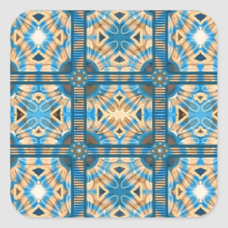 Blue and gold tiles square sticker