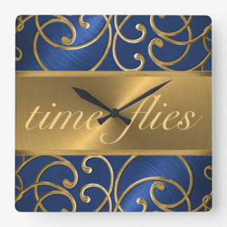 Blue and Gold Time Flies Clock