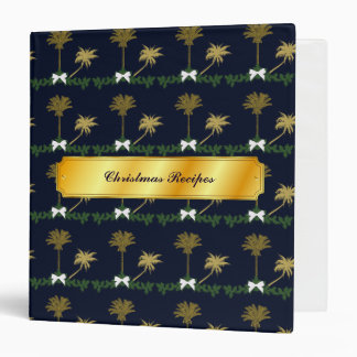 Blue and Gold Tropical Christmas Recipes Binder