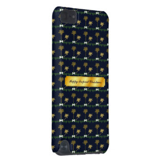 Blue and Gold Tropical Christmas with Palm Trees iPod Touch (5th Generation) Case