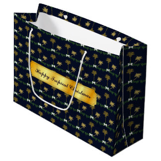 Blue and Gold Tropical Christmas with Palm Trees Large Gift Bag