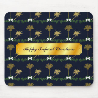 Blue and Gold Tropical Christmas with Palm Trees Mouse Pad