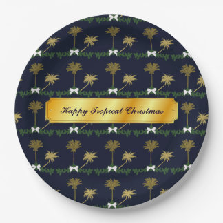 Blue and Gold Tropical Christmas with Palm Trees Paper Plate