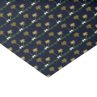 Blue and Gold Tropical Christmas with Palm Trees Tissue Paper