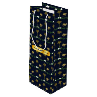 Blue and Gold Tropical Christmas with Palm Trees Wine Gift Bag