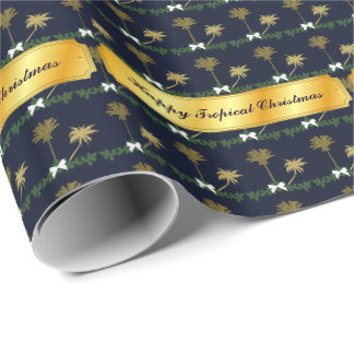 Blue and Gold Tropical Christmas with Palm Trees Wrapping Paper