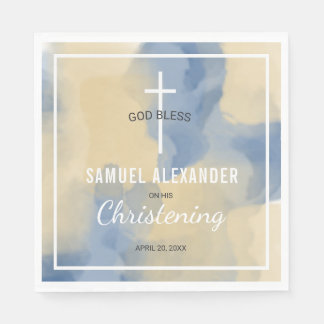 Blue and Gold Watercolor Baby Boy Christening Disposable Napkins