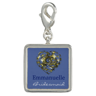 Blue and Gold Wedding Heart Charms