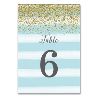 Blue and Gold Wedding Table Number Card