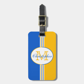 Blue and Golden Yellow Stripes Monogram Luggage Tag