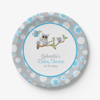 Blue and Gray Baby Owl Baby Shower Theme 7 Inch Paper Plate