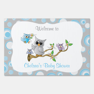 Blue and Gray Baby Owl | Shower Theme Sign
