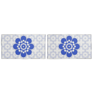 Blue and Gray Blue Flower Pillow Cases Pillowcase
