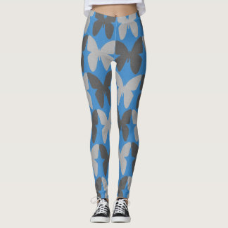 Blue and gray butterfly pattern leggings