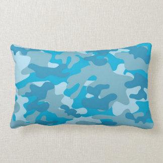 Blue and Gray Camo Design Lumbar Pillow