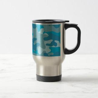 Blue and Gray Camo Design Travel Mug