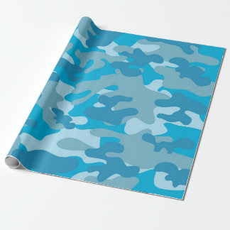 Blue and Gray Camo Design Wrapping Paper